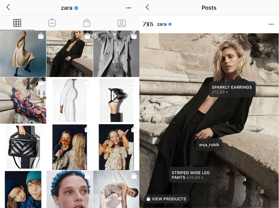 Tagging feature on Instagram used by Zara