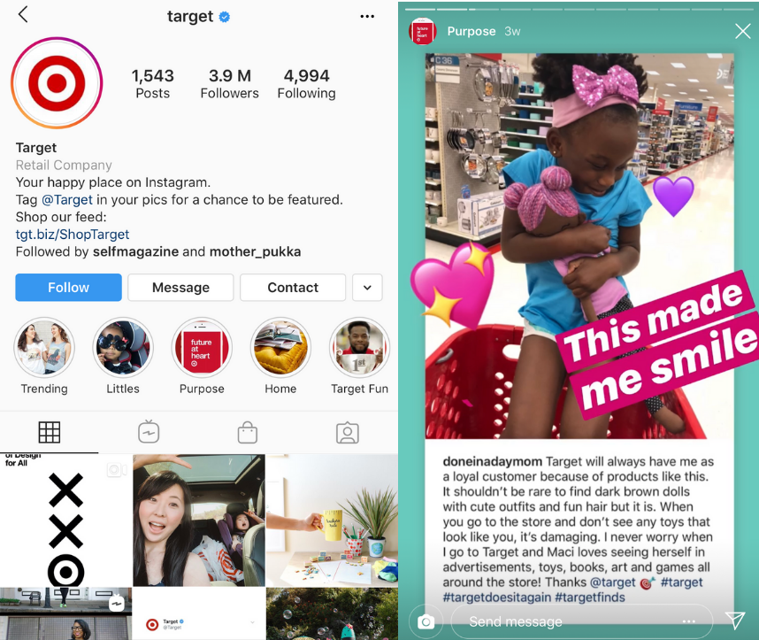 Target's Instagram and stories using user generated content