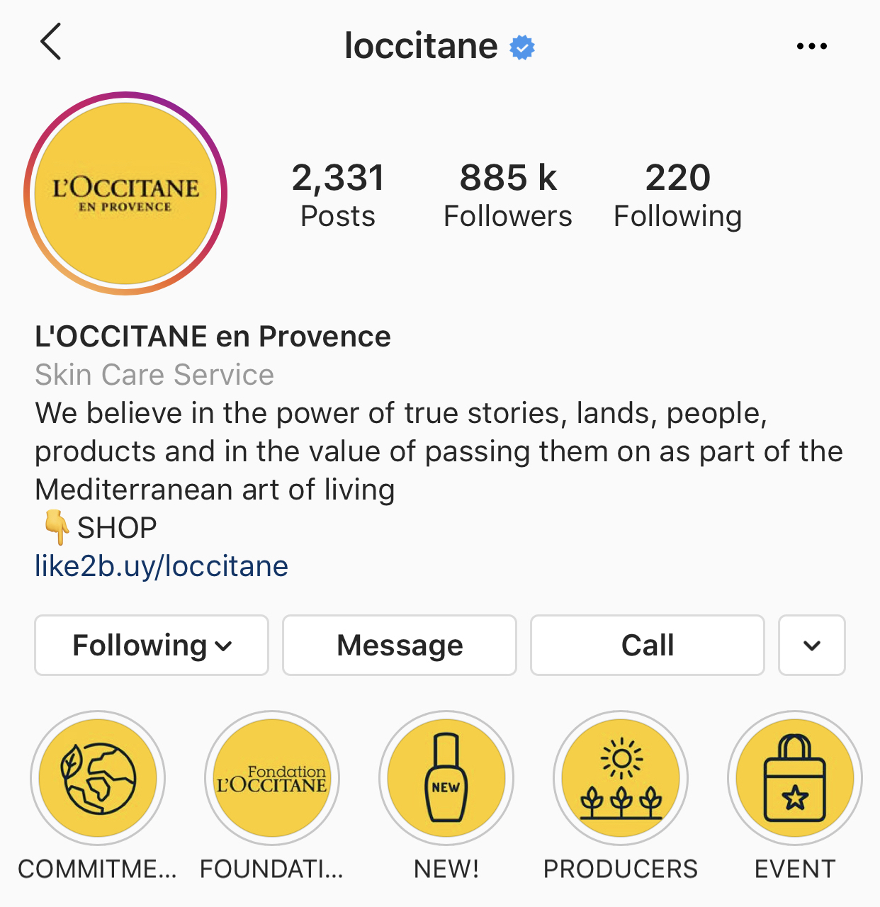 L'Occitane Instagram profile